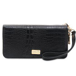 Crocodile Embossed Zip Around Wallet -