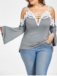 Plus Size Lace Up Cold Shoulder T-shirt -