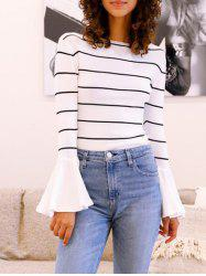 Flare Sleeve Striped T Shirt -