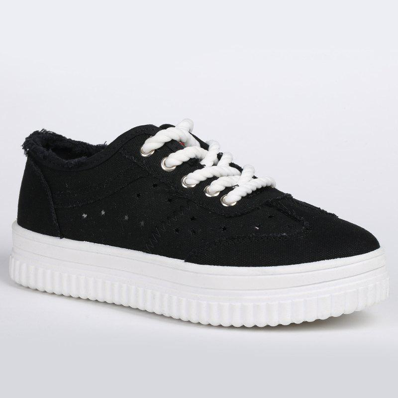 Buy Lace Up Hollow Out Canvas Shoes