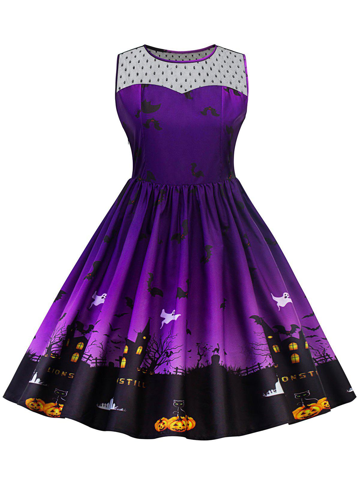 Fashion Plus Size Halloween Lace Panel Dress