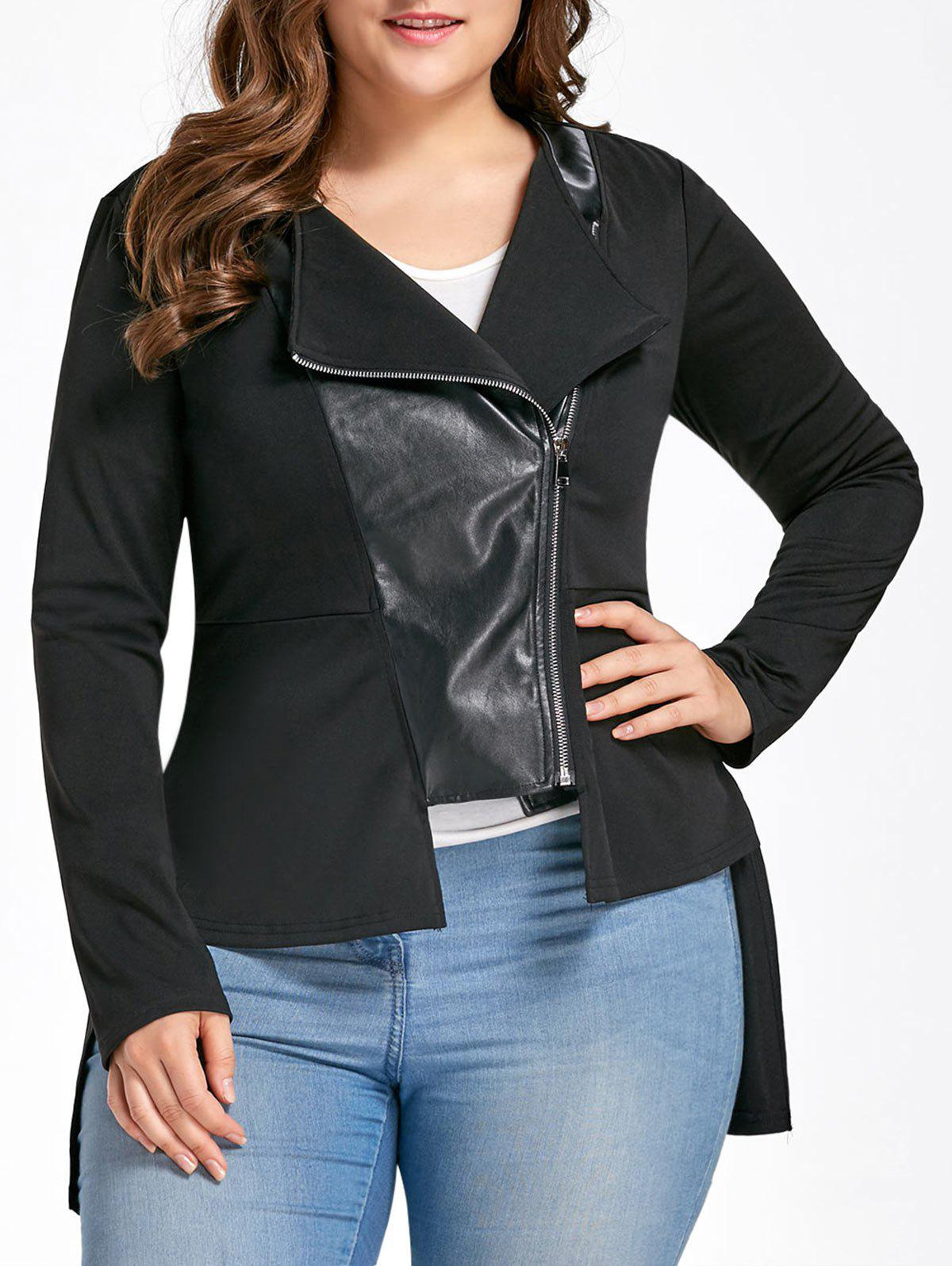 Plus Size PU Leather Insert High Low JacketWOMEN<br><br>Size: XL; Color: BLACK; Clothes Type: Jackets; Material: Cotton,Faux Leather,Polyester; Type: Asymmetric Length; Shirt Length: Long; Sleeve Length: Full; Collar: Collarless; Closure Type: Zipper; Pattern Type: Solid; Embellishment: Panel; Style: Fashion; Season: Fall,Spring; With Belt: No; Weight: 0.4200kg; Package Contents: 1 x Jacket;