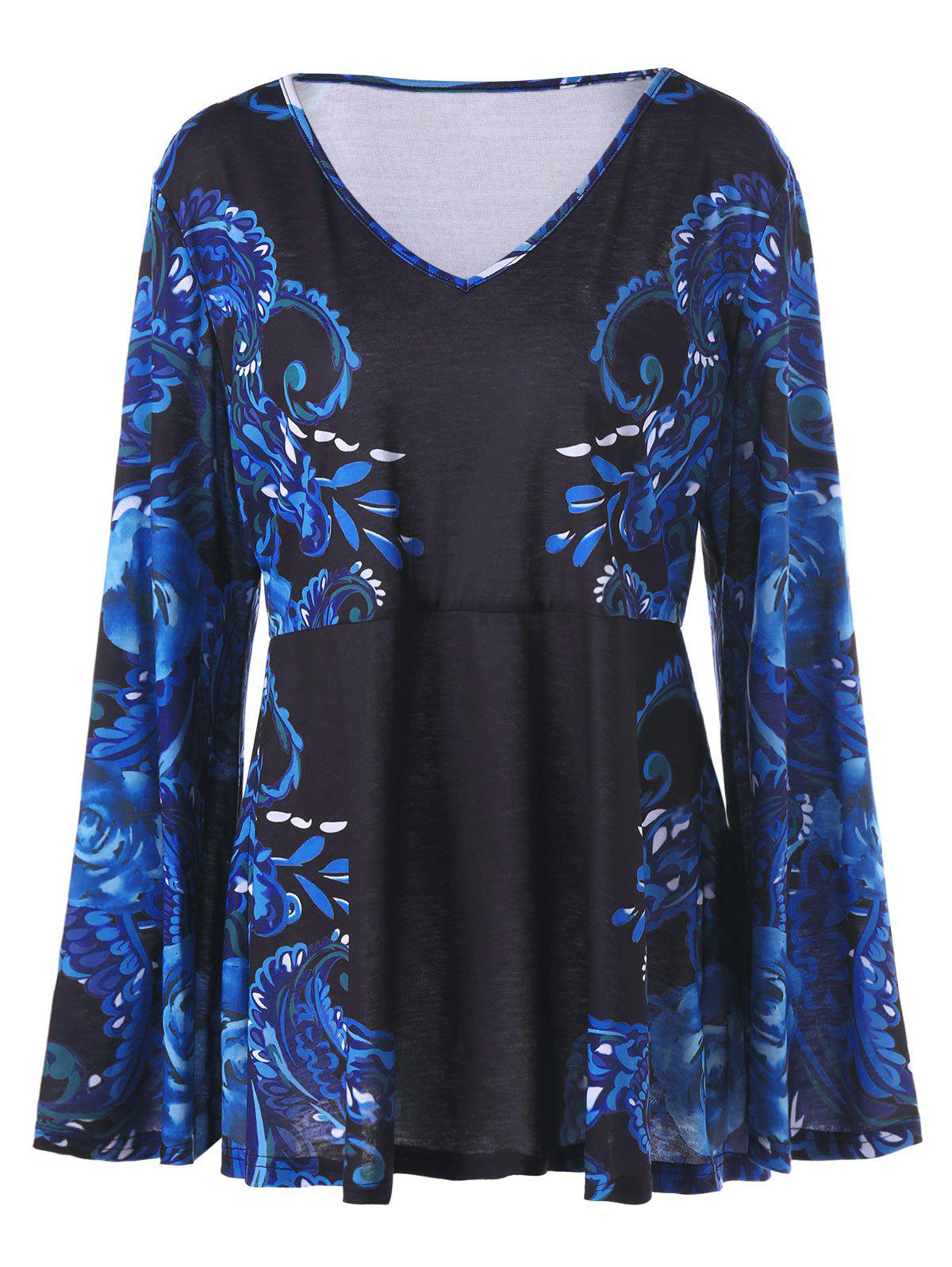 Plus Size Floral Print Flare Sleeve TopWOMEN<br><br>Size: 5XL; Color: BLACK; Material: Cotton,Polyester; Shirt Length: Long; Sleeve Length: Full; Collar: V-Neck; Style: Casual; Season: Fall,Spring; Sleeve Type: Flare Sleeve; Pattern Type: Floral; Weight: 0.3000kg; Package Contents: 1 x T-shirt;
