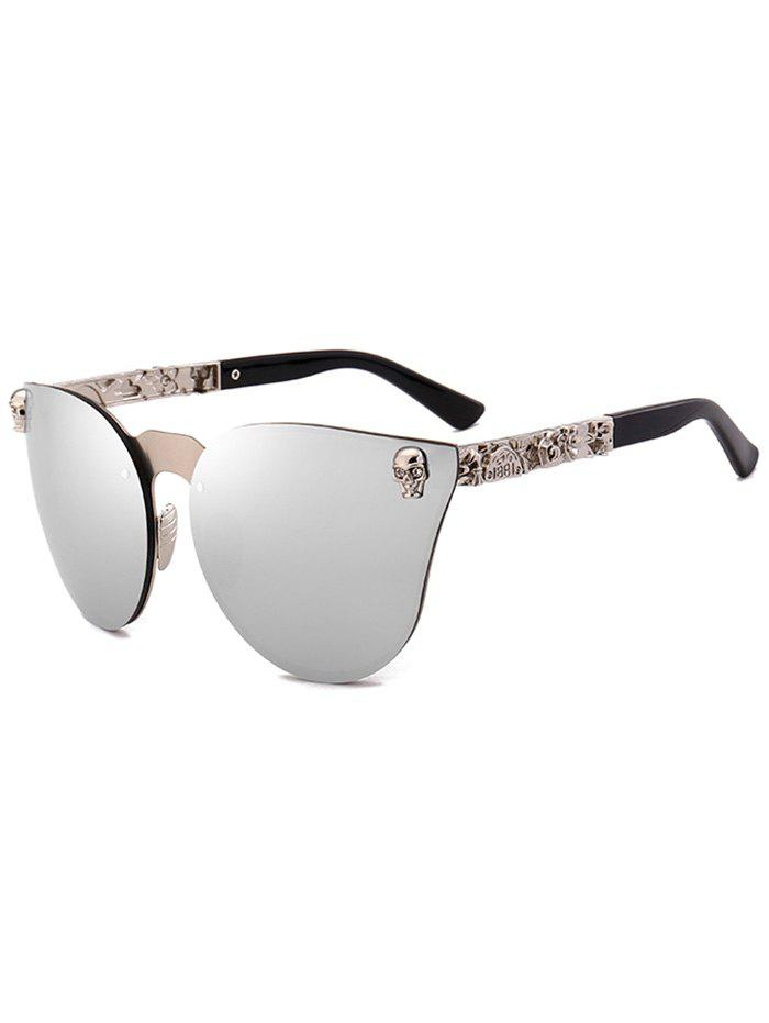 Skull Embellished Butterfly Mirror SunglassesACCESSORIES<br><br>Color: SILVER; Group: Adult; Gender: For Women; Style: Fashion; Shape: Butterfly; Lenses Optical Attribute: Mirror; Lens material: Polycarbonate; Frame material: Other; Frame Color: Multi-color; Lens height: 5.7CM; Lens width: 6.8CM; Temple Length: 13.2CM; Nose: 1.5CM; Frame Length: 13.8CM; Weight: 0.0960kg; Package Contents: 1 x Sunglasses;