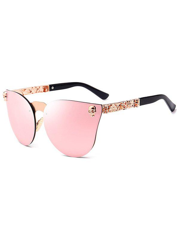 Skull Embellished Butterfly Mirror Sunglasses, Pink