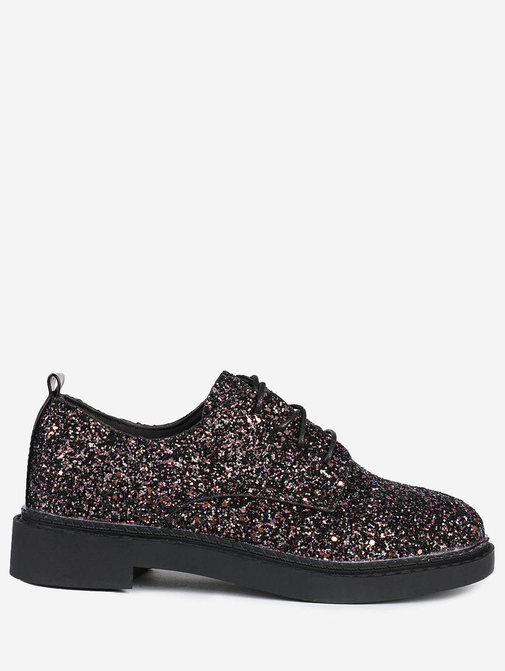 Store Tie Up Low Top Glitter Flat Shoes