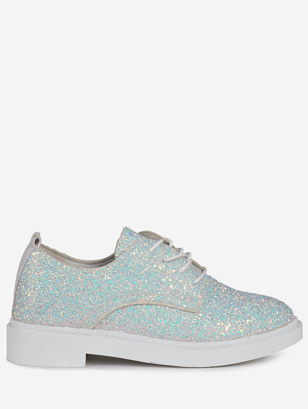 Buy Tie Up Low Top Glitter Flat Shoes
