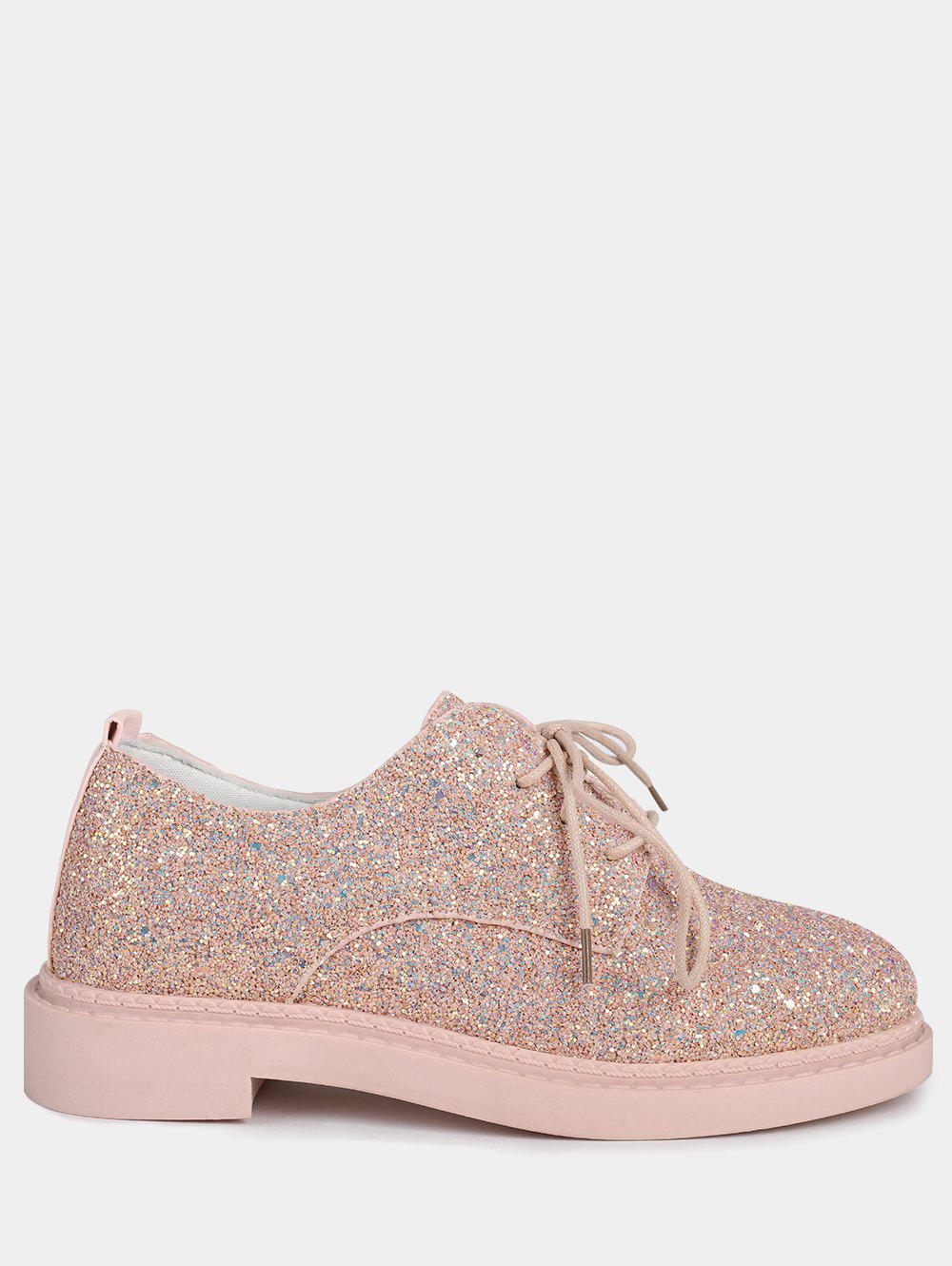 Discount Tie Up Low Top Glitter Flat Shoes