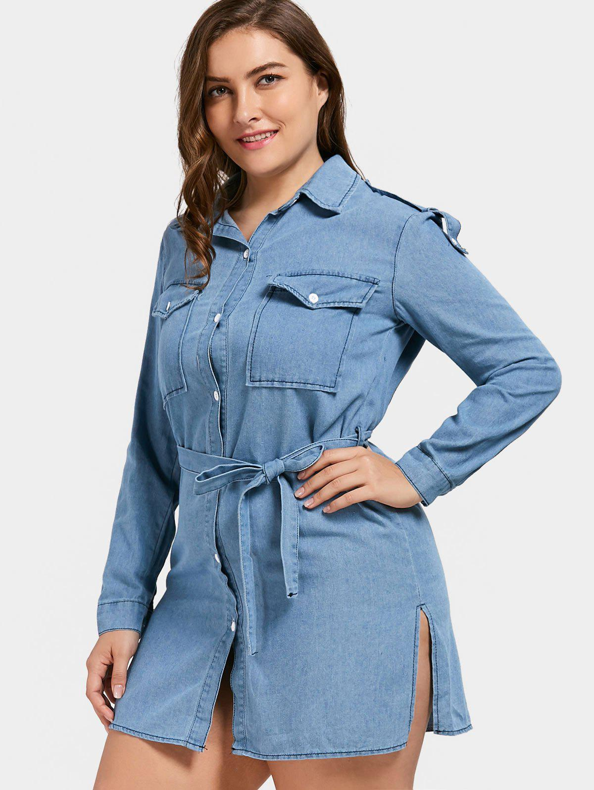 Plus Size Slit Short Jeans Long Sleeve Denim Shirt DressWOMEN<br><br>Size: 5XL; Color: BLUE; Style: Casual; Material: Cotton,Polyester; Silhouette: Straight; Dresses Length: Mini; Neckline: Shirt Collar; Sleeve Length: Long Sleeves; Pattern Type: Solid; With Belt: Yes; Season: Fall; Weight: 0.4900kg; Package Contents: 1 x Dress  1 x Belt;