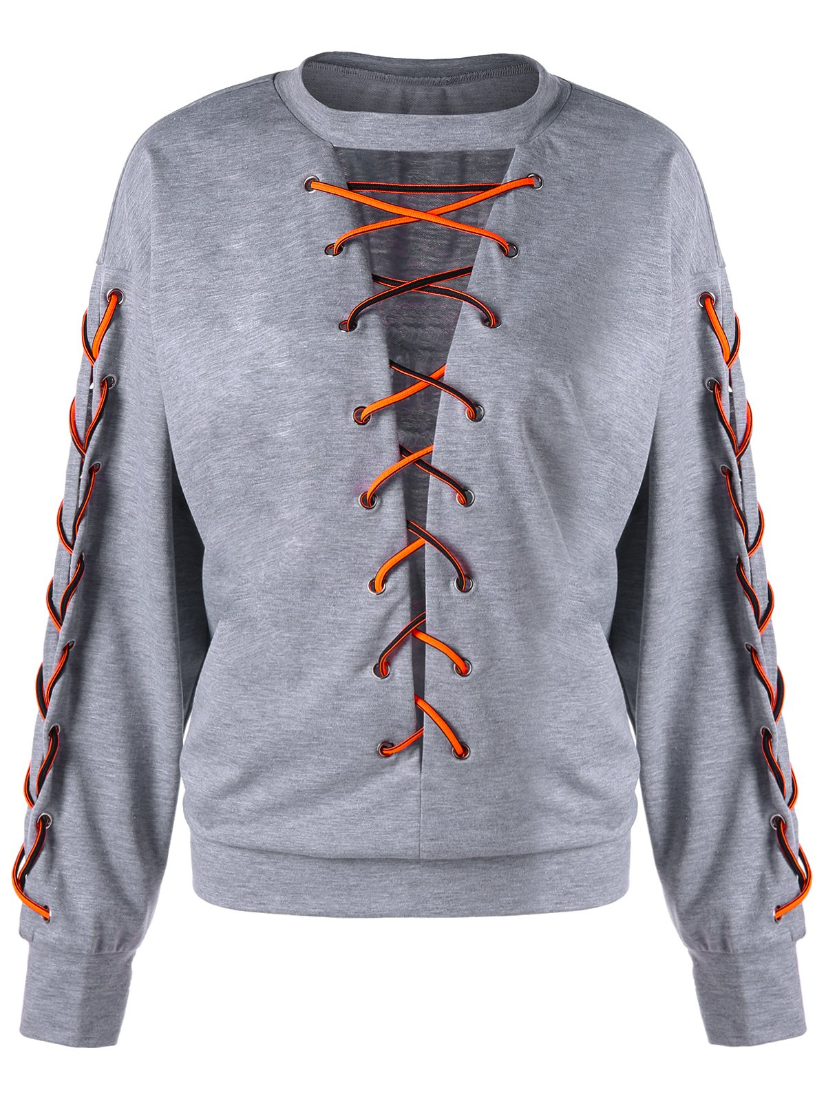 Plus Size Low Cut Lace Up SweatshirtWOMEN<br><br>Size: XL; Color: LIGHT GREY; Material: Polyester,Spandex; Shirt Length: Regular; Sleeve Length: Full; Style: Fashion; Pattern Style: Others; Season: Fall,Spring; Weight: 0.3890kg; Package Contents: 1 x Sweatshirt;