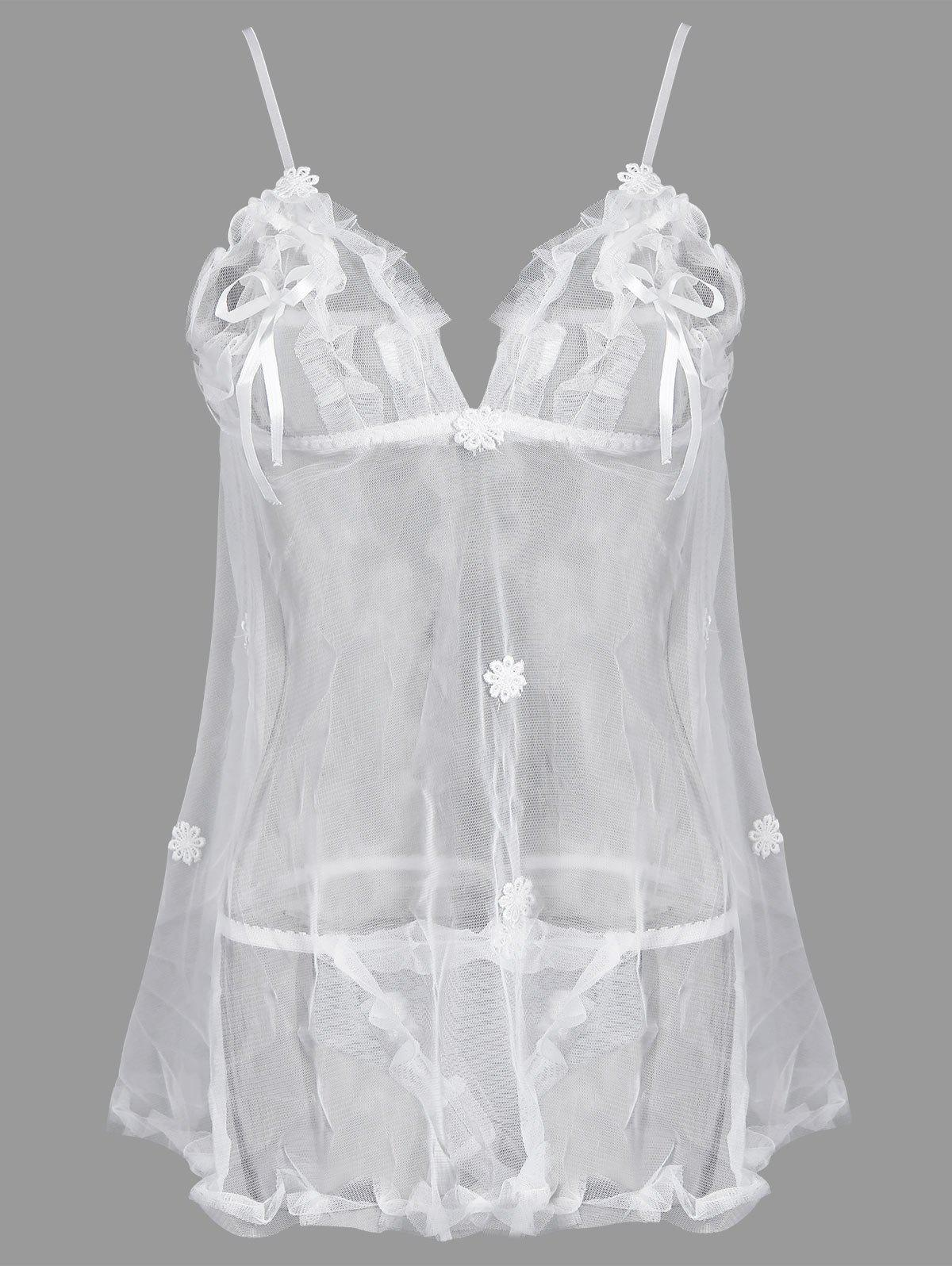 See Through Plus Size Babydoll with AppliqueWOMEN<br><br>Size: 2XL; Color: WHITE; Material: Polyester; Pattern Type: Others; Embellishment: Appliques,Lace,Ruffles; Weight: 0.1700kg; Package Contents: 1 x Babydoll  1 x T-back;