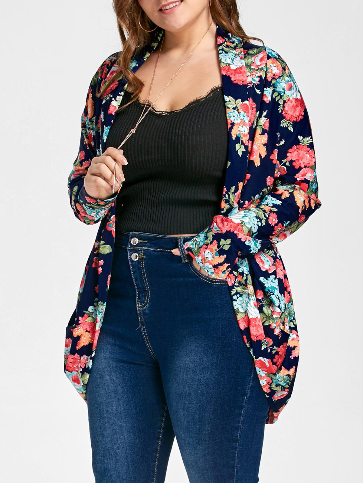 Outfit Open Front Plus Size Froral Print Cardigan
