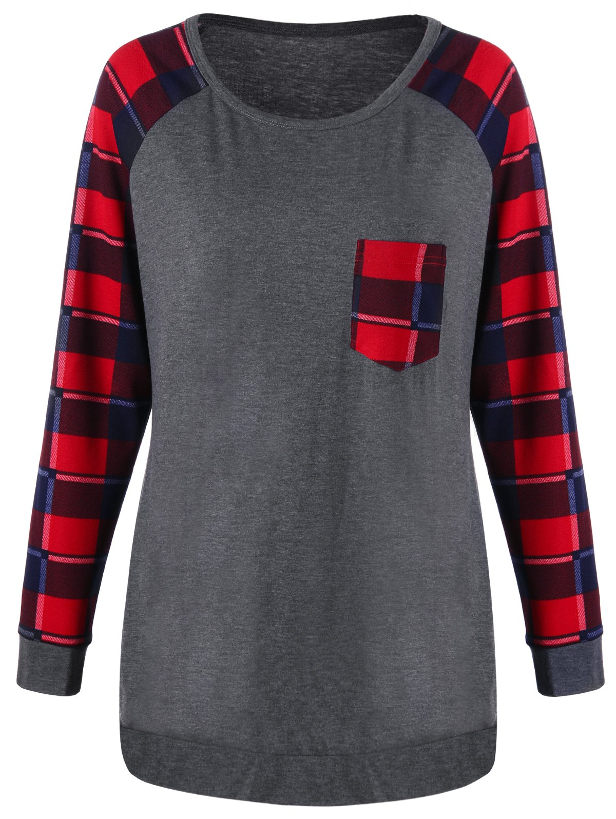 Raglan Sleeve Plus Size Pocket Plaid TopWOMEN<br><br>Size: 3XL; Color: GRAY; Material: Polyester,Spandex; Shirt Length: Long; Sleeve Length: Full; Collar: Round Neck; Style: Casual; Season: Fall,Spring; Pattern Type: Plaid; Weight: 0.3040kg; Package Contents: 1 x Top;