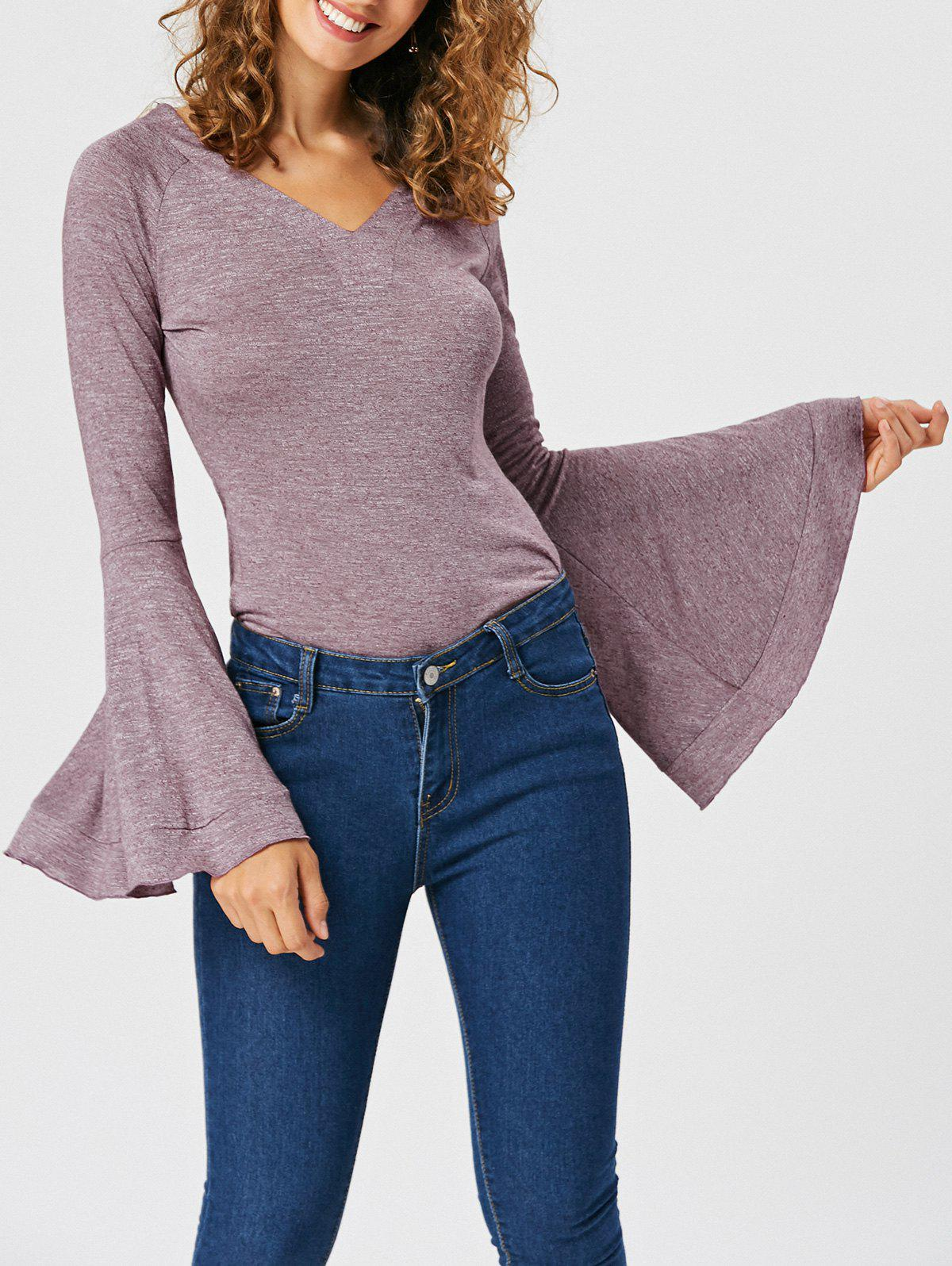 New Slimming V-neck Flounce Top with Flare Sleeve
