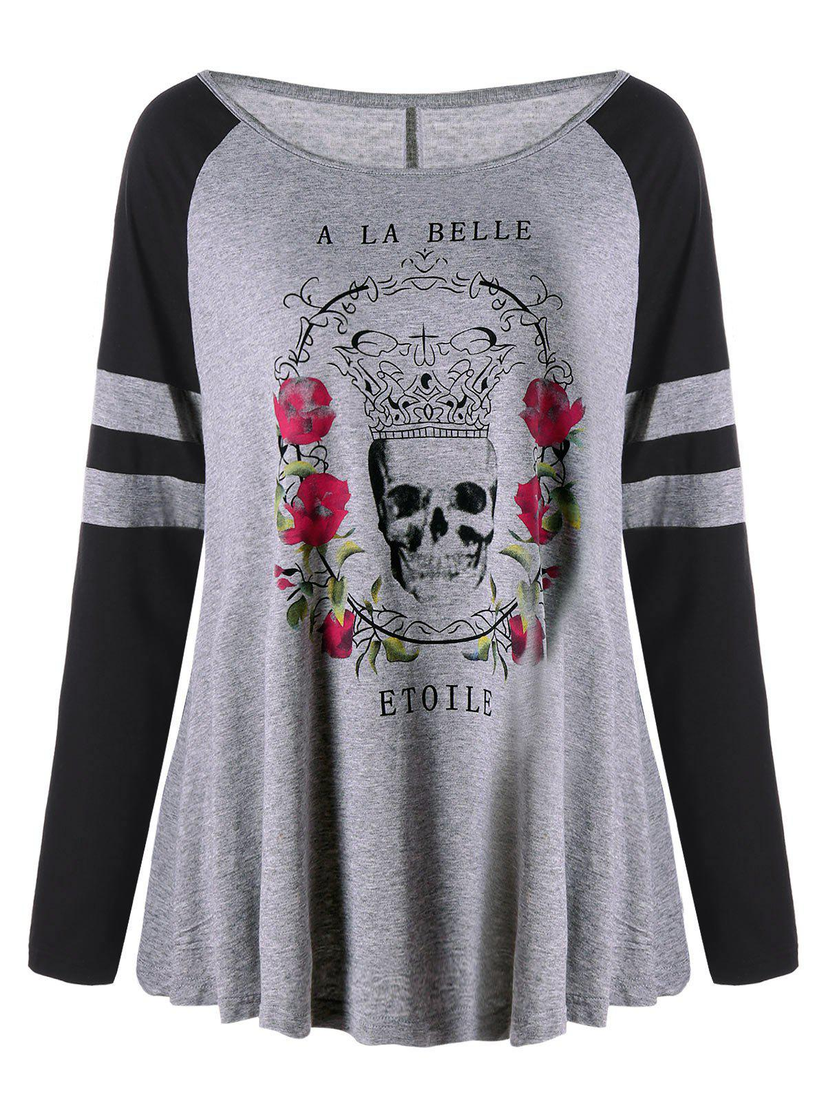 Plus Size Floral Skulls Raglan Sleeve T-shirtWOMEN<br><br>Size: 2XL; Color: GRAY; Material: Cotton,Polyester; Shirt Length: Regular; Sleeve Length: Full; Collar: Scoop Neck; Style: Casual; Season: Fall,Spring; Pattern Type: Floral,Letter,Skulls; Weight: 0.3000kg; Package Contents: 1 x T-shirt;