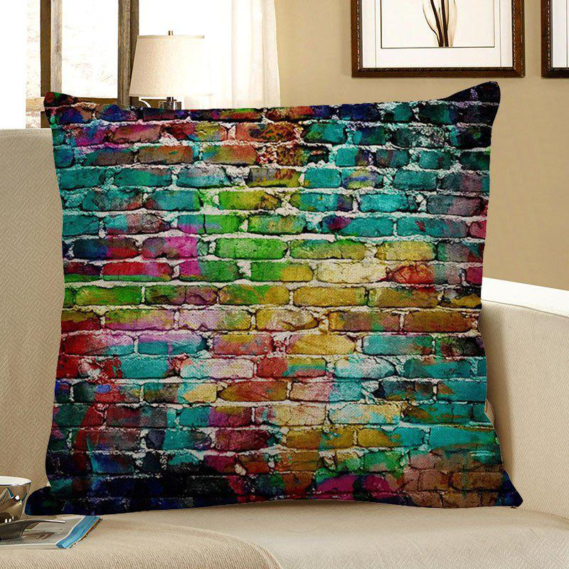 Chromatic Brick Pattern Square Pillow CaseHOME<br><br>Size: W18 INCH * L18 INCH; Color: COLORFUL; Material: Linen; Pattern: Wall; Style: Vintage; Shape: Square; Weight: 0.0700kg; Package Contents: 1 x Pillow Case;