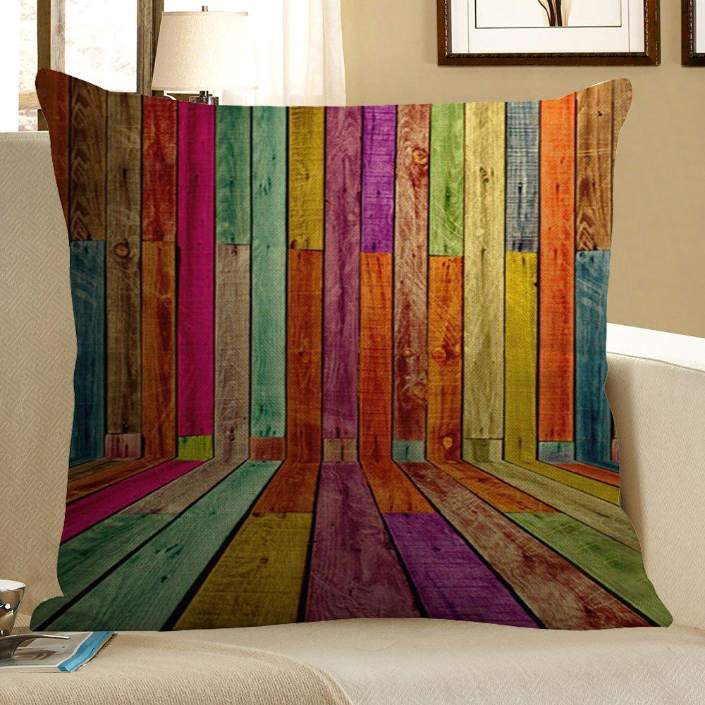 Colorful Wood Pattern Square Pillow CaseHOME<br><br>Size: W18 INCH * L18 INCH; Color: COLORFUL; Material: Linen; Pattern: Wood Grain; Style: Vintage; Shape: Square; Weight: 0.0700kg; Package Contents: 1 x Pillow Case;