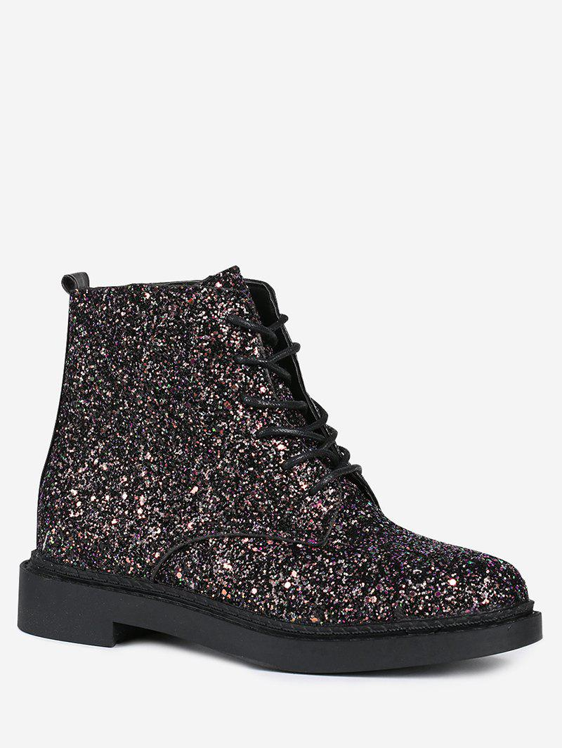 Glitter Tie Up Short Boots