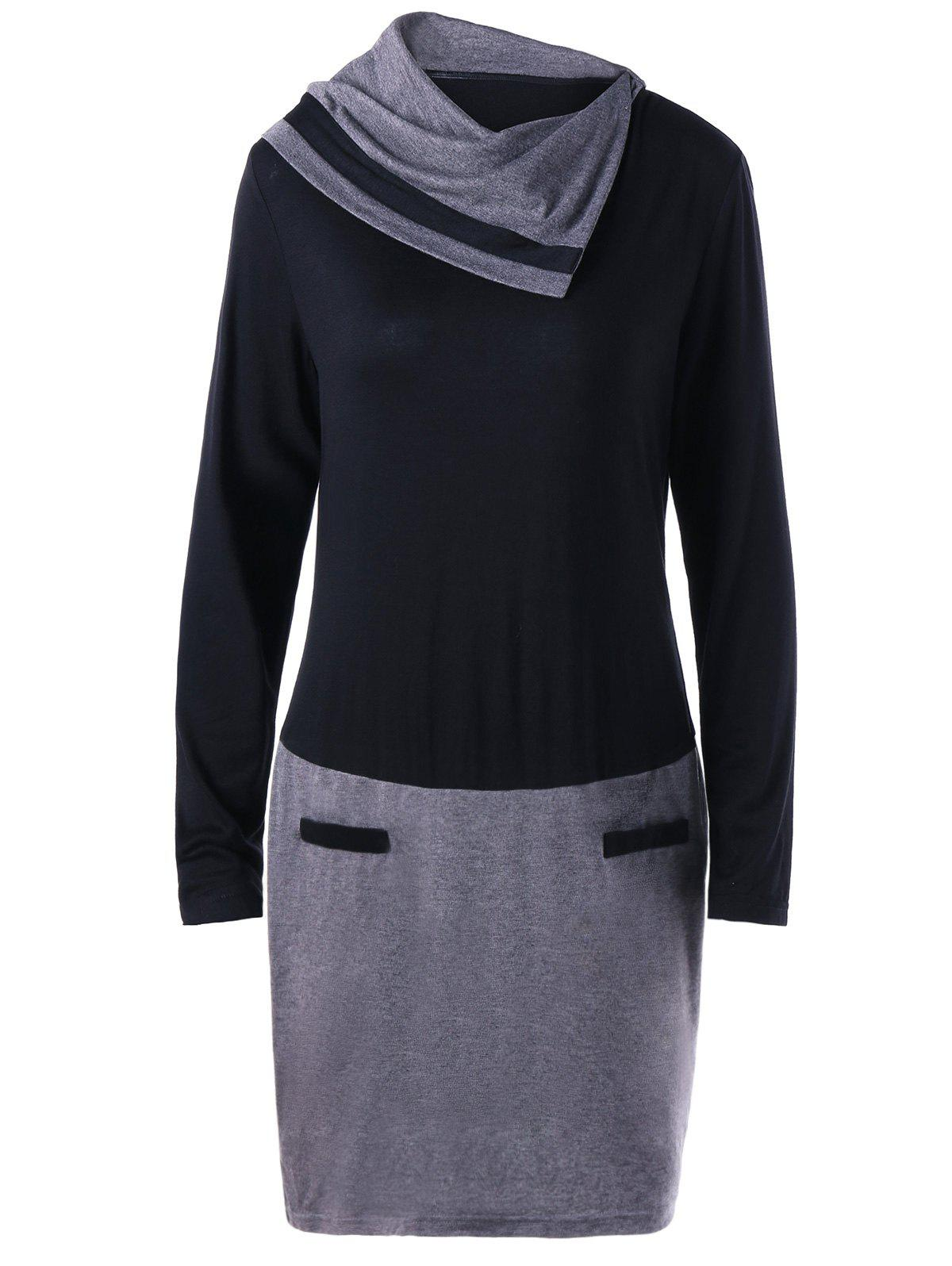 Long Sleeve Plus Size Fitted DressWOMEN<br><br>Size: XL; Color: BLACK AND GREY; Style: Casual; Material: Cotton,Spandex; Silhouette: Sheath; Dresses Length: Knee-Length; Neckline: Heaps Collar; Sleeve Length: Long Sleeves; Embellishment: Panel; Pattern Type: Others; With Belt: No; Season: Fall,Spring; Weight: 0.3500kg; Package Contents: 1 x Dress;