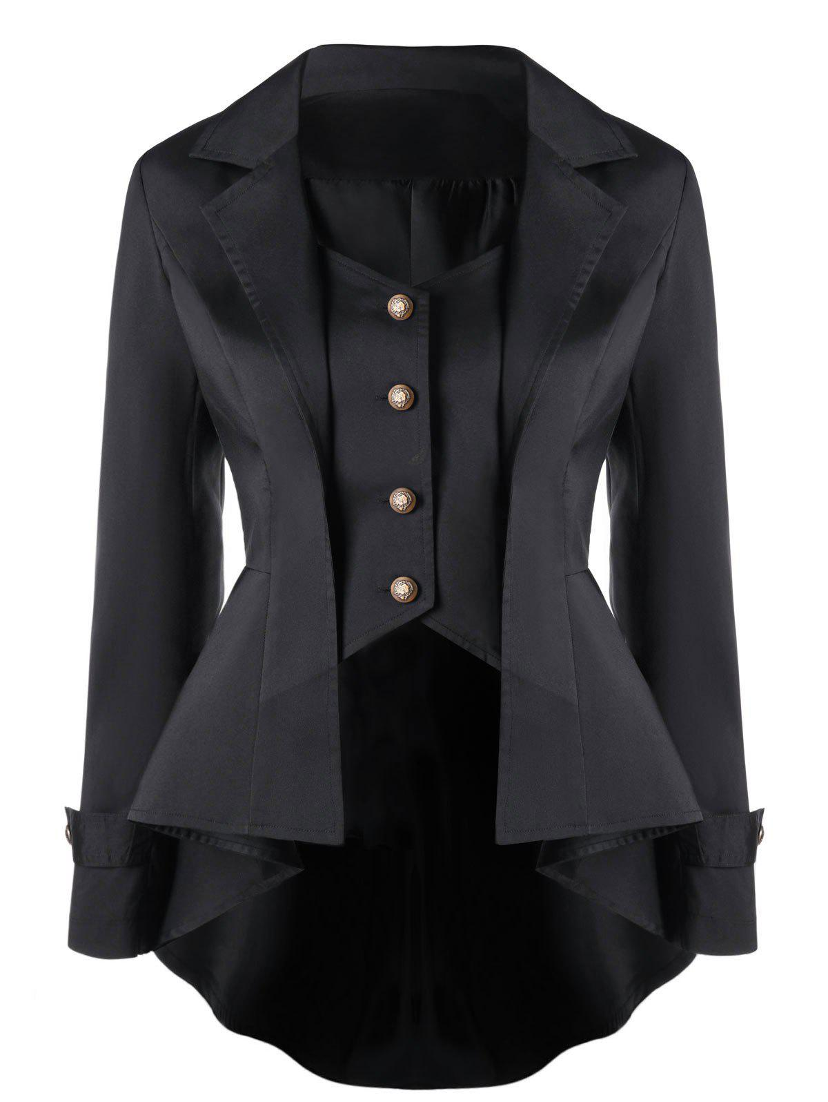 Notched Collar Button Up High Low CoatWOMEN<br><br>Size: XL; Color: BLACK; Clothes Type: Trench; Material: Polyester; Type: Slim; Shirt Length: Regular; Sleeve Length: Full; Collar: Notched Collar; Pattern Type: Solid; Embellishment: Button; Style: Gothic; Season: Fall,Spring; Weight: 0.3200kg; Package Contents: 1 x Coat;