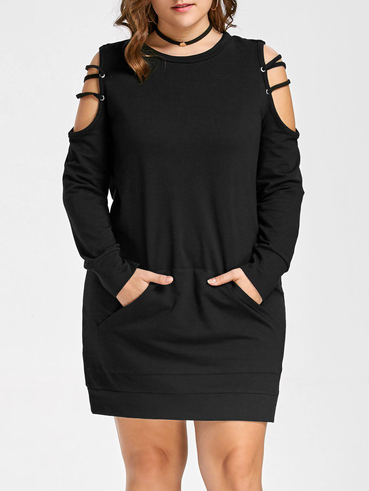 Open Shoulder Plus Size Ladder Cut Out DressWOMEN<br><br>Size: 3XL; Color: BLACK; Style: Casual; Material: Polyester,Spandex; Silhouette: Sheath; Dresses Length: Mini; Neckline: Round Collar; Sleeve Length: Long Sleeves; Pattern Type: Solid; With Belt: No; Season: Fall,Spring; Weight: 0.4900kg; Package Contents: 1 x Dress;