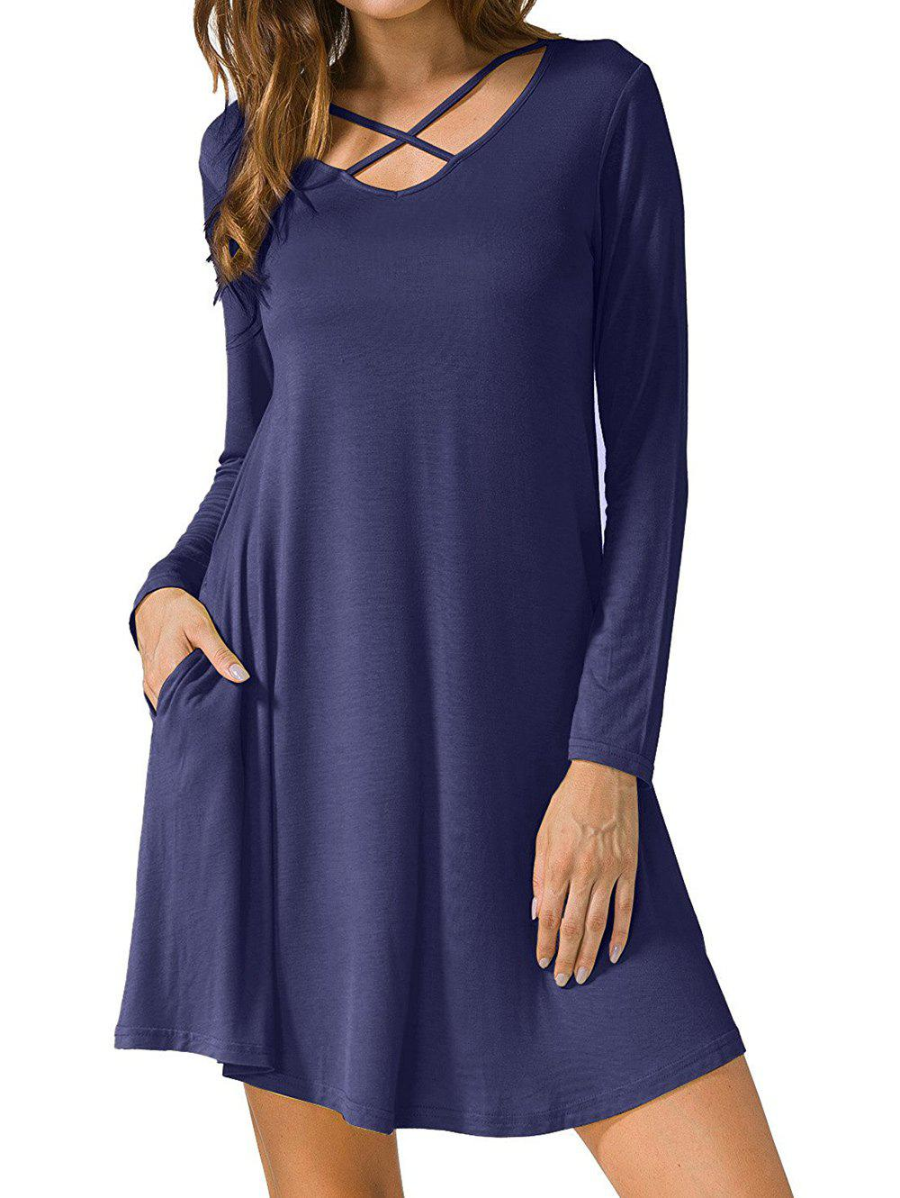 Long Sleeve V Neck T-shirt Skater DressWOMEN<br><br>Size: XL; Color: CADETBLUE; Style: Casual; Material: Polyester; Silhouette: A-Line; Dress Type: Swing Dress,Tee Dress; Dresses Length: Mini; Neckline: V-Neck; Sleeve Length: Long Sleeves; Embellishment: Criss-Cross; Pattern Type: Solid Color; With Belt: No; Season: Fall,Spring; Weight: 0.2900kg; Package Contents: 1 x Dress; Occasion: Casual;