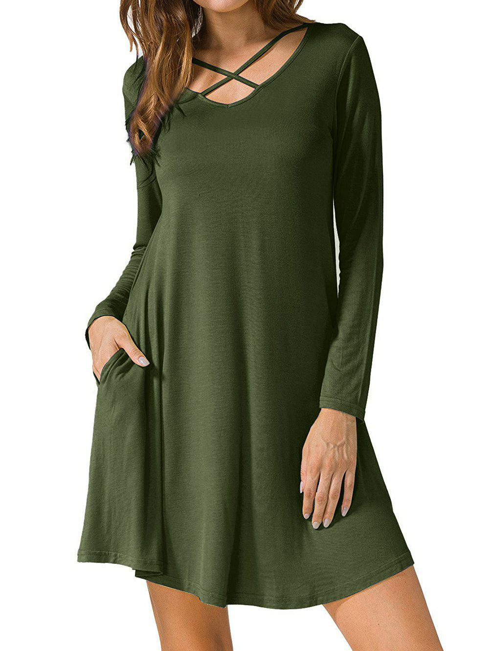 Long Sleeve V Neck T-shirt Skater DressWOMEN<br><br>Size: L; Color: ARMY GREEN; Style: Casual; Material: Polyester; Silhouette: A-Line; Dress Type: Swing Dress,Tee Dress; Dresses Length: Mini; Neckline: V-Neck; Sleeve Length: Long Sleeves; Embellishment: Criss-Cross; Pattern Type: Solid Color; With Belt: No; Season: Fall,Spring; Weight: 0.2900kg; Package Contents: 1 x Dress; Occasion: Casual;