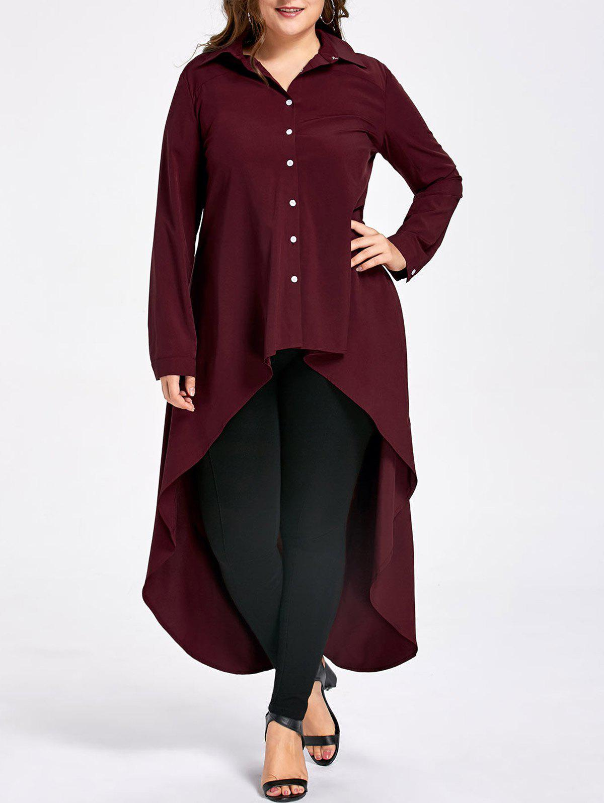 Plus Size High Low Hem Extra Long BlouseWOMEN<br><br>Size: 2XL; Color: DEEP RED; Material: Polyester,Spandex; Shirt Length: Long; Sleeve Length: Full; Collar: Shirt Collar; Style: Fashion; Season: Fall,Spring,Summer; Embellishment: Button; Pattern Type: Solid; Weight: 0.3600kg; Package Contents: 1 x Blouse;