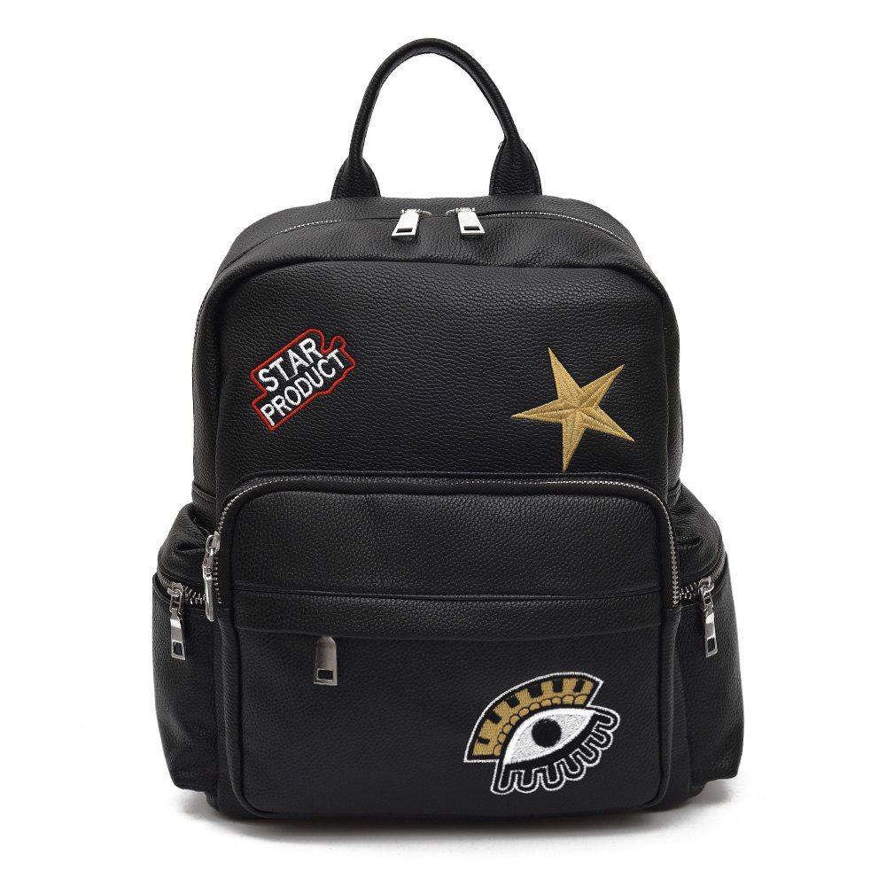 Outfits Star Embroidery PU Leather Backpack