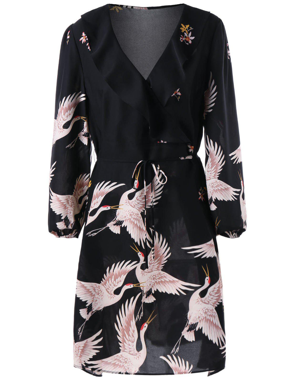 Plus Size Gruidae Print Flounced DressWOMEN<br><br>Size: 3XL; Color: BLACK; Style: Brief; Material: Polyester,Spandex; Silhouette: Sheath; Dresses Length: Knee-Length; Neckline: Turn-down Collar; Sleeve Length: Long Sleeves; Pattern Type: Animal; With Belt: Yes; Season: Fall,Spring,Summer; Weight: 0.3000kg; Package Contents: 1 x Dress  1 x Belt;