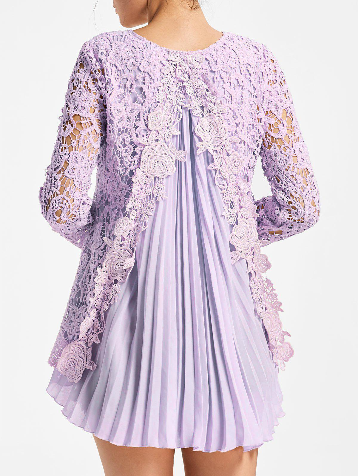 High Low Pleated Lace BlouseWOMEN<br><br>Size: XL; Color: LIGHT PURPLE; Style: Fashion; Material: Polyester; Shirt Length: Long; Sleeve Length: Full; Collar: Round Neck; Pattern Type: Patchwork,Solid; Season: Fall,Spring; Weight: 0.3500kg; Package Contents: 1 x Blouse;