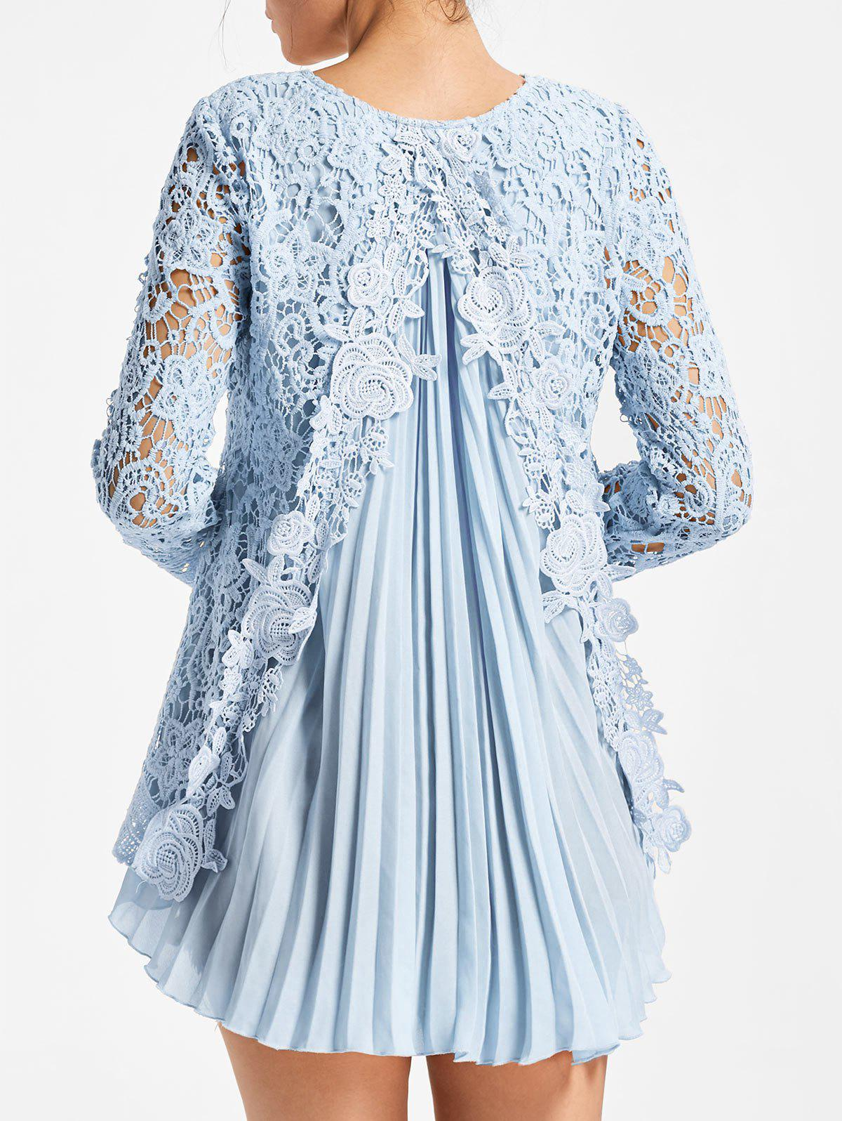 High Low Pleated Lace BlouseWOMEN<br><br>Size: XL; Color: LIGHT BLUE; Style: Fashion; Material: Polyester; Shirt Length: Long; Sleeve Length: Full; Collar: Round Neck; Pattern Type: Patchwork,Solid; Season: Fall,Spring; Weight: 0.3500kg; Package Contents: 1 x Blouse;