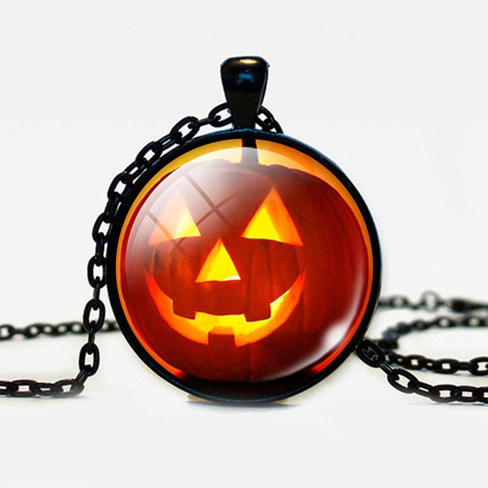 Halloween Devil Pumpkin Round Pendant NecklaceJEWELRY<br><br>Color: BLACK; Item Type: Pendant Necklace; Gender: Unisex; Necklace Type: Link Chain; Style: Trendy; Shape/Pattern: Round; Length: 55CM; Weight: 0.0300kg; Package Contents: 1 x Necklace;