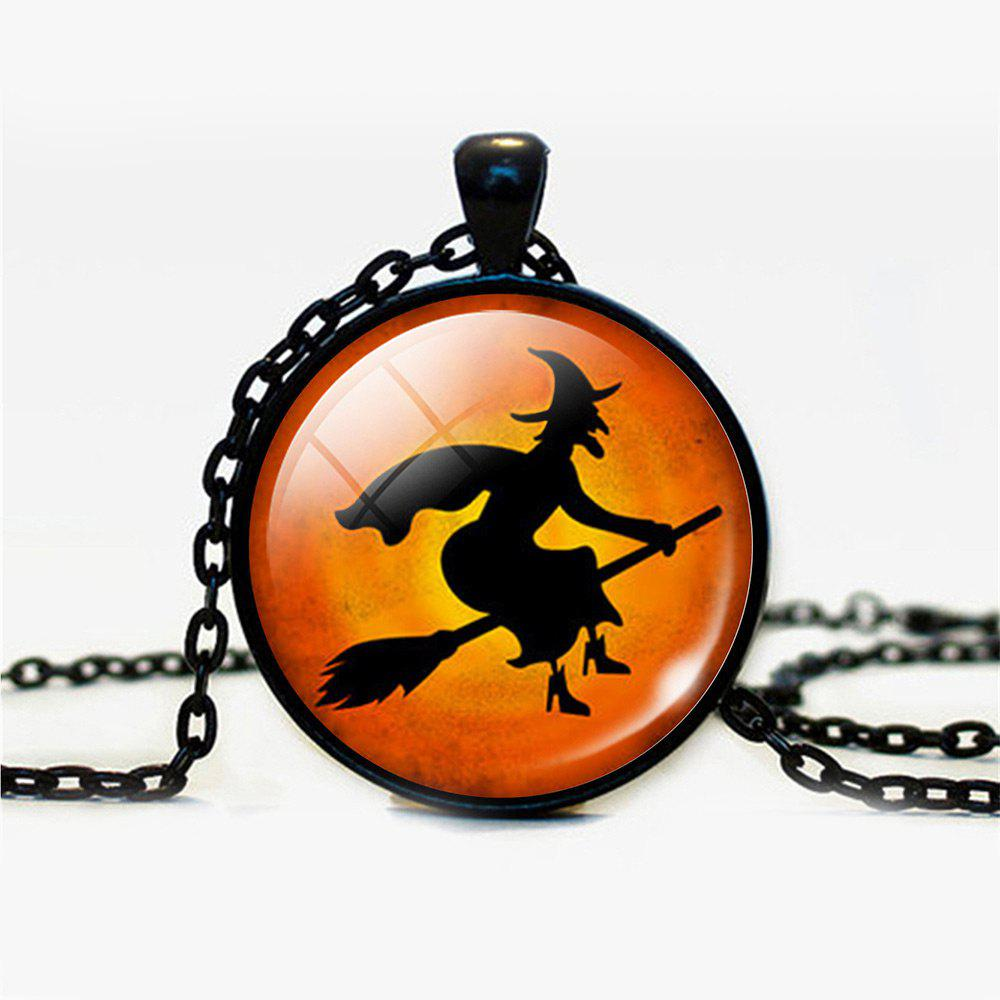 Halloween Devil Sorceress Round Pendant NecklaceJEWELRY<br><br>Color: BLACK; Item Type: Pendant Necklace; Gender: Unisex; Necklace Type: Link Chain; Style: Trendy; Shape/Pattern: Round; Length: 55CM; Weight: 0.0300kg; Package Contents: 1 x Necklace;