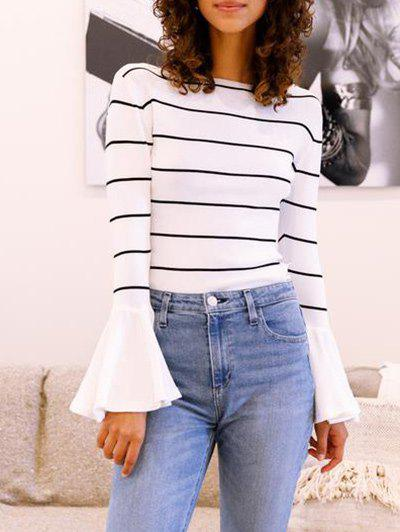 Chic Flare Sleeve Striped T Shirt