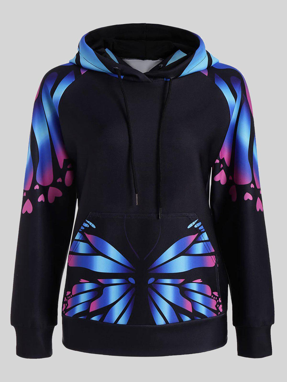 Plus Size Butterfly Print Kangaroo HoodieWOMEN<br><br>Size: 2XL; Color: BLUE; Material: Polyester,Spandex; Shirt Length: Regular; Sleeve Length: Full; Style: Fashion; Pattern Style: Insect,Print; Elasticity: Elastic; Season: Fall,Spring; Weight: 0.5000kg; Package Contents: 1 x Hoodie;
