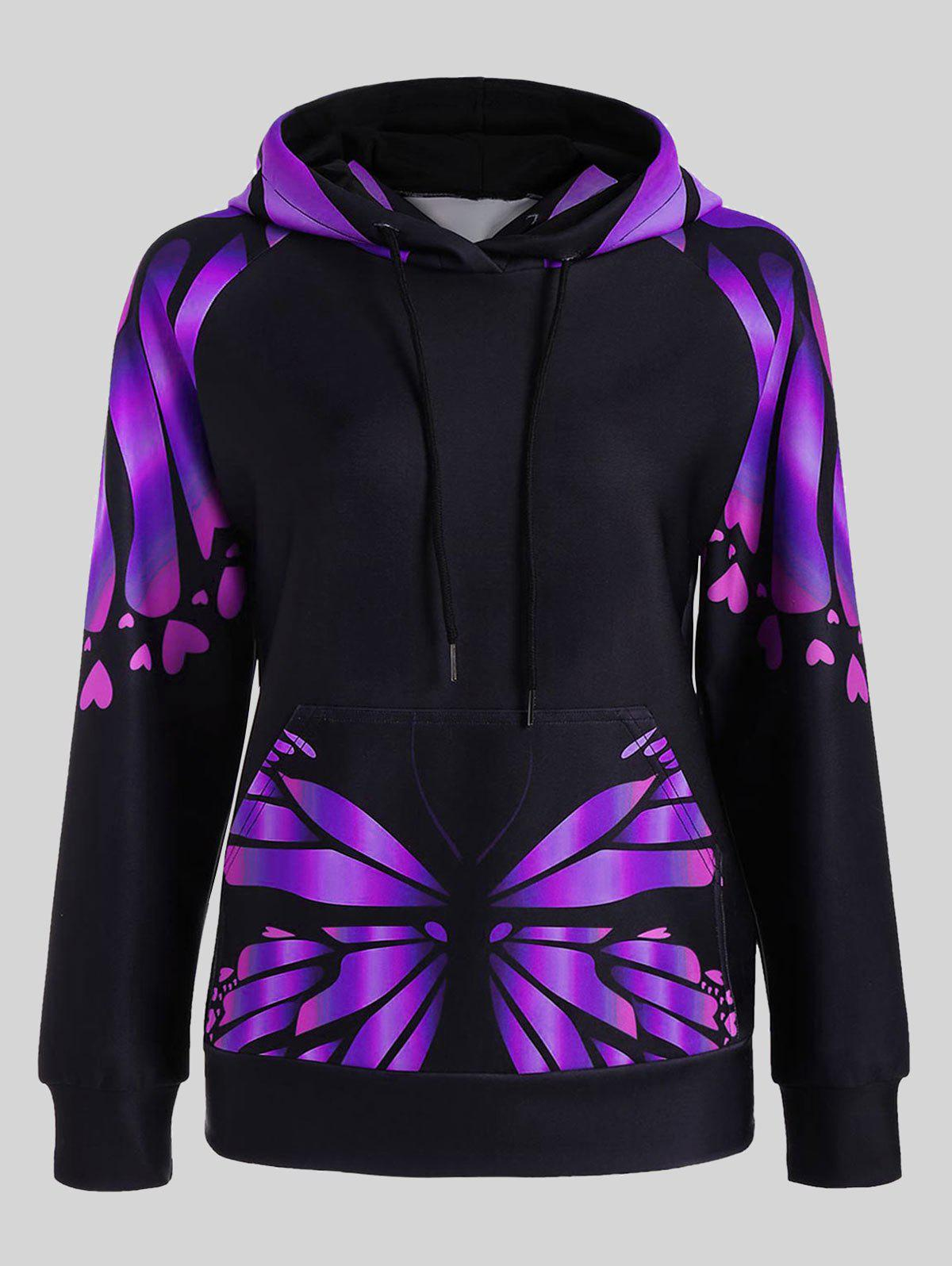 Plus Size Butterfly Print Kangaroo HoodieWOMEN<br><br>Size: 2XL; Color: PURPLE; Material: Polyester,Spandex; Shirt Length: Regular; Sleeve Length: Full; Style: Fashion; Pattern Style: Insect,Print; Elasticity: Elastic; Season: Fall,Spring; Weight: 0.5000kg; Package Contents: 1 x Hoodie;