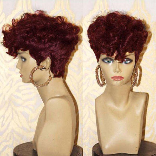 Short Inclined Bang Shaggy Layered Afro Curly Synthetic Wig