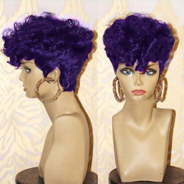 Latest Short Inclined Bang Shaggy Layered Afro Curly Synthetic Wig