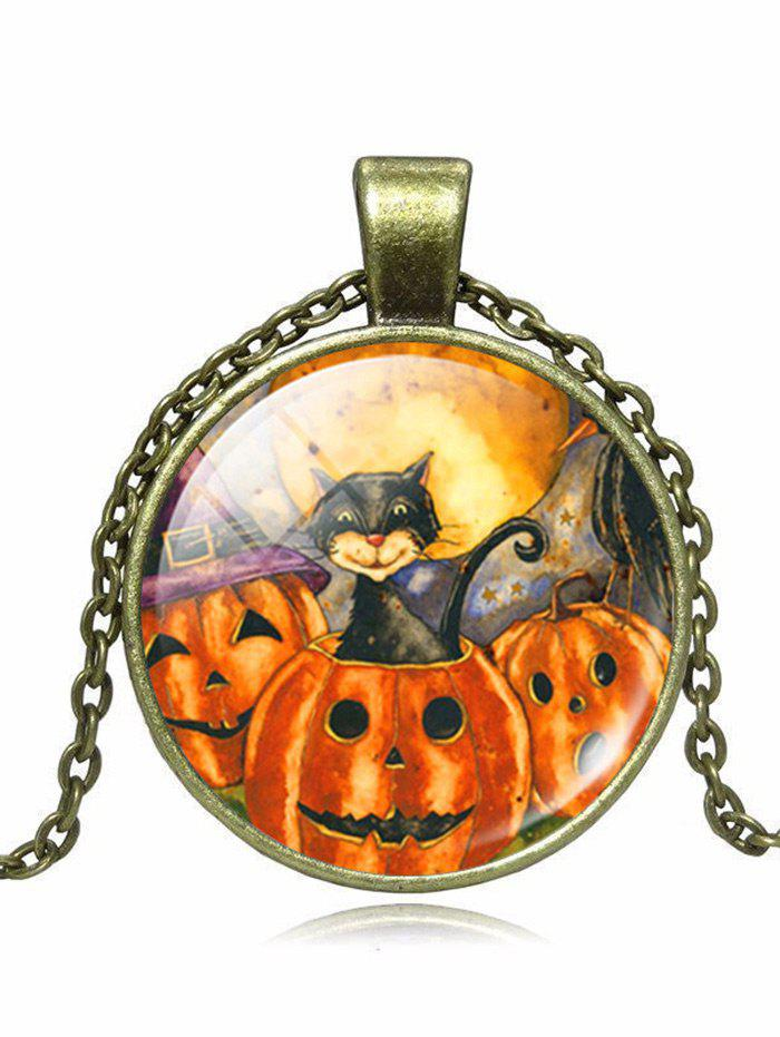 Devil Halloween Pumpkin Cat Pendant NecklaceJEWELRY<br><br>Color: BRONZE; Item Type: Pendant Necklace; Gender: Unisex; Necklace Type: Link Chain; Style: Trendy; Shape/Pattern: Round; Length: 55CM; Weight: 0.0300kg; Package Contents: 1 x Necklace;