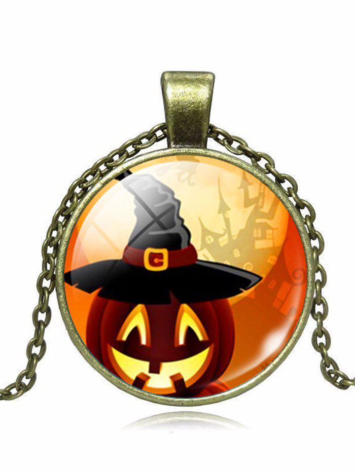 Wizard Hat Halloween Pumpkin Pendant NecklaceJEWELRY<br><br>Color: BRONZE; Item Type: Pendant Necklace; Gender: Unisex; Necklace Type: Link Chain; Style: Trendy; Shape/Pattern: Round; Length: 55CM; Weight: 0.0300kg; Package Contents: 1 x Necklace;