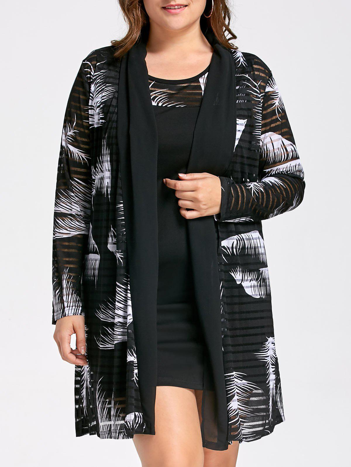 Plus Size Tank Dress with Mesh Long Sheer CardiganWOMEN<br><br>Size: 3XL; Color: WHITE AND BLACK; Style: Casual; Material: Cotton Blend,Polyester; Silhouette: Bodycon; Dresses Length: Mini; Neckline: Round Collar; Sleeve Length: Sleeveless; Pattern Type: Plant,Print; With Belt: No; Season: Fall,Spring; Weight: 0.5500kg; Package Contents: 1 x Dress 1 x Cardigan;