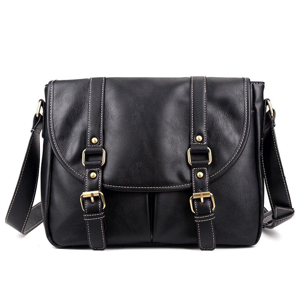 Online Double Buckle Straps Faux Leather Messenger Bag