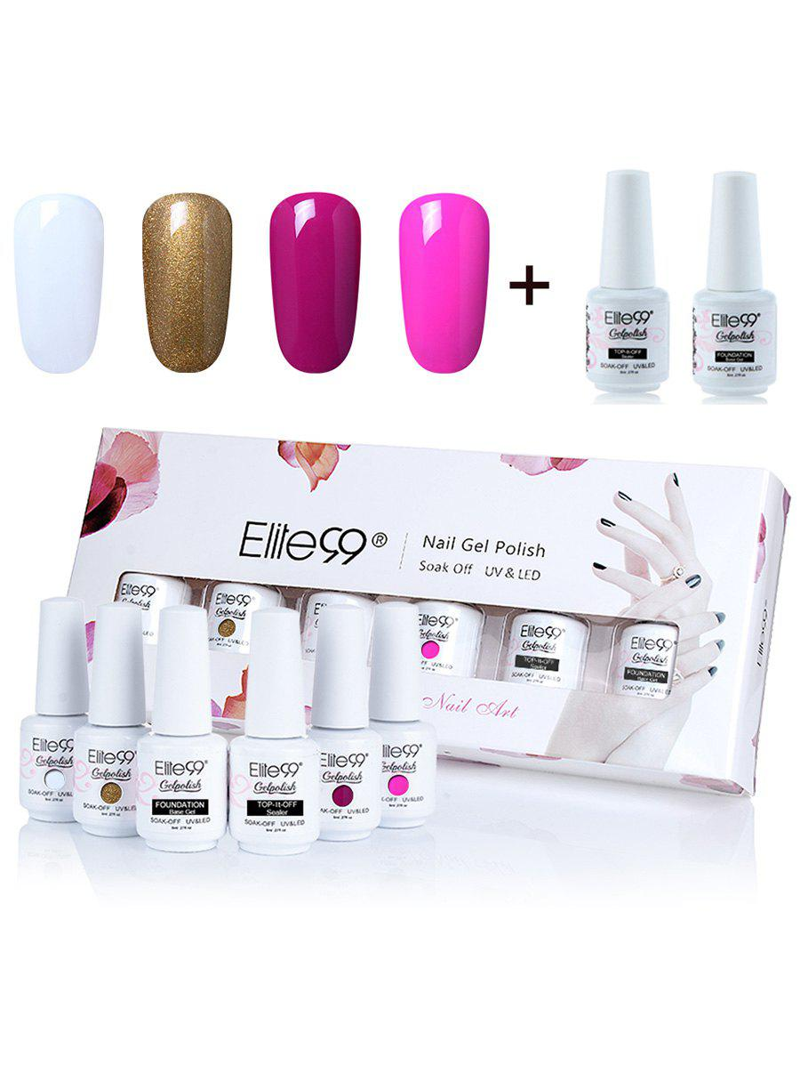 Elite99 6Pcs Lacquer UV LED Soak Off Gel Nail Polish SetBEAUTY<br><br>Color: #01; Net Weight: 8ml*6; Type: Gel Polish; Product weight: 0.2000 kg; Package weight: 0.3000 kg; Product Size  ( L x W x H ): 1.00 x 1.00 x 1.00 cm / 0.39 x 0.39 x 0.39 inches; Package Size ( L x W x H ): 1.00 x 1.00 x 1.00 cm / 0.39 x 0.39 x 0.39 inches; Package Content: 4 x Colour Gel(Pieces) 2 x Top/Base Coat(Pieces);