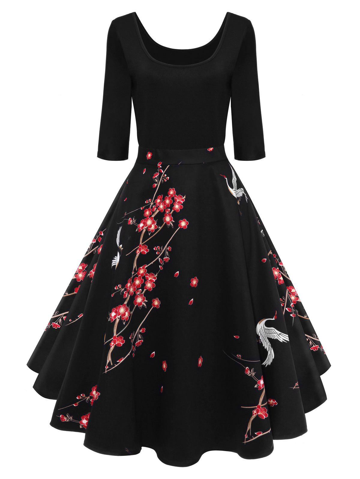 Vintage Wintersweet Print Fit and Flare DressWOMEN<br><br>Size: L; Color: BLACK; Style: Vintage; Material: Cotton,Polyester; Silhouette: A-Line; Dresses Length: Knee-Length; Neckline: U Neck; Sleeve Length: 3/4 Length Sleeves; Pattern Type: Floral; With Belt: No; Season: Fall,Spring; Weight: 0.4000kg; Package Contents: 1 x Dress;