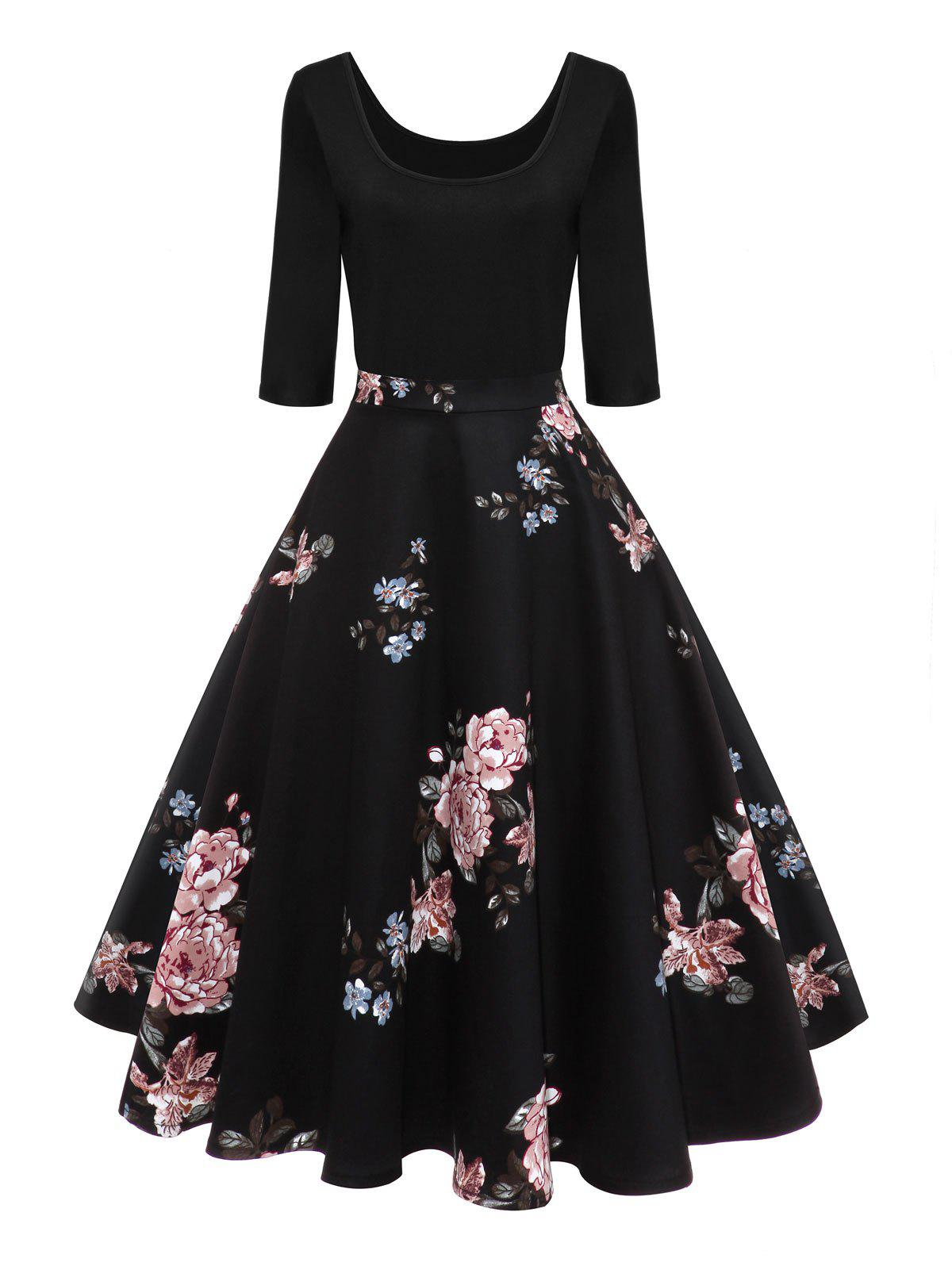Retro U Neck Floral Pin Up DressWOMEN<br><br>Size: S; Color: BLACK; Style: Vintage; Material: Cotton,Polyester; Silhouette: A-Line; Dresses Length: Knee-Length; Neckline: U Neck; Sleeve Length: 3/4 Length Sleeves; Pattern Type: Floral; With Belt: No; Season: Fall,Spring; Weight: 0.4000kg; Package Contents: 1 x Dress;