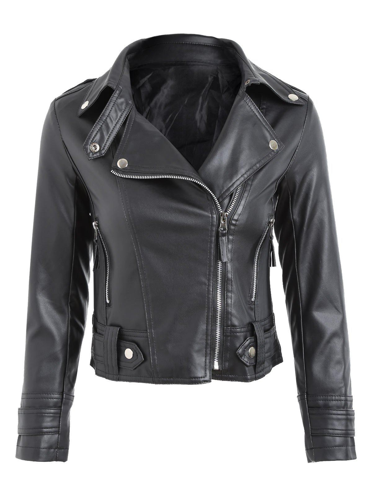 Faux Leather Biker JacketWOMEN<br><br>Size: L; Color: BLACK; Clothes Type: Jackets; Material: Faux Leather,Polyester; Type: Slim; Shirt Length: Short; Sleeve Length: Three Quarter; Collar: Turn-down Collar; Pattern Type: Solid; Style: Fashion; Season: Fall,Spring; Weight: 0.5500kg; Package Contents: 1 x Jacket;