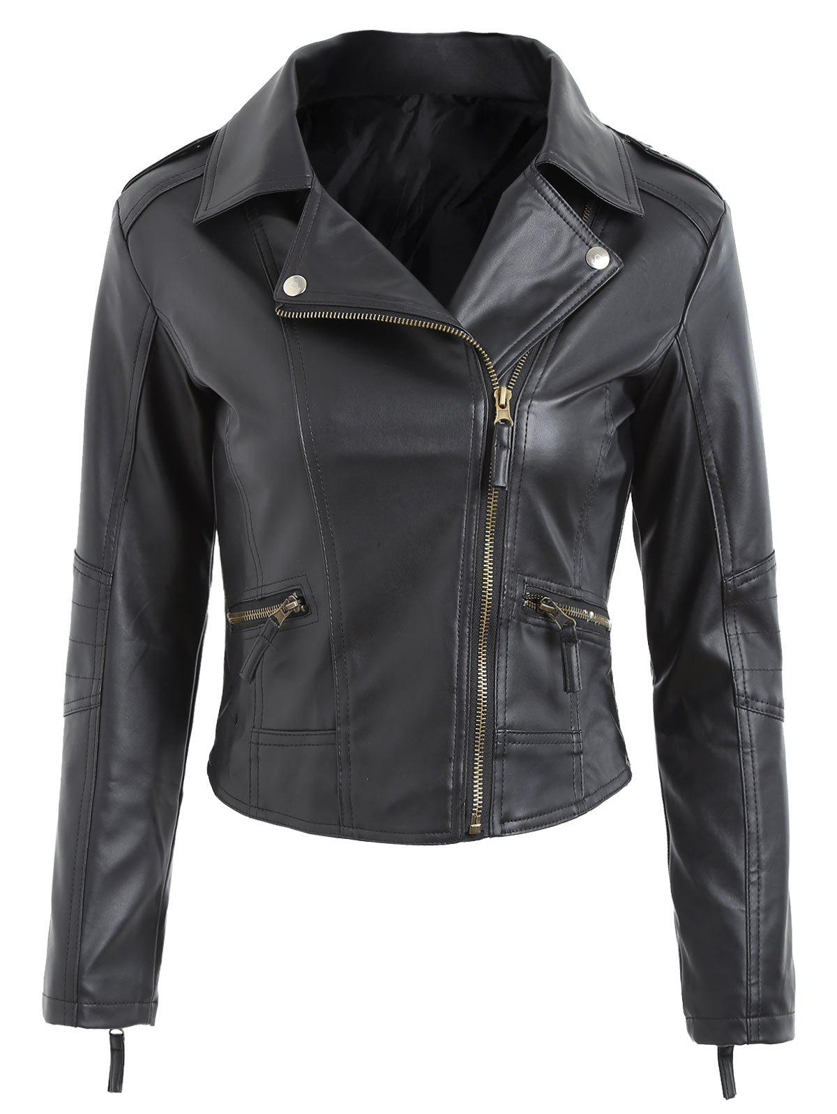 Zipper Fly Faux Leather Biker JacketWOMEN<br><br>Size: S; Color: BLACK; Clothes Type: Jackets; Material: Faux Leather,Polyester; Type: Slim; Shirt Length: Regular; Sleeve Length: Full; Collar: Turn-down Collar; Pattern Type: Solid; Style: Fashion; Season: Fall,Spring; Weight: 0.5500kg; Package Contents: 1 x Jacket;