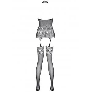 Halter Fishnet Sheer Garter Bodystockings - Noir TAILLE MOYENNE