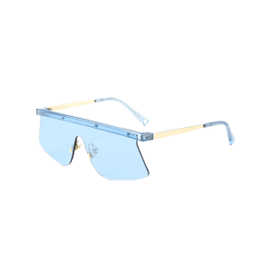 Mirror Semi Rimless Shield Sunglasses -